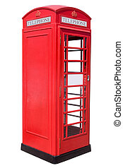 Red Phone Box - The British red phone booth isolated on...