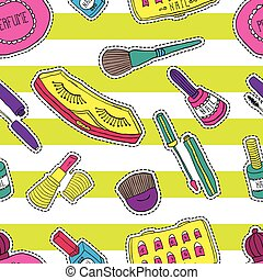 Hand drawn fashion cosmetics pattern. Beauty and makeup stickers in cartoon comic style.