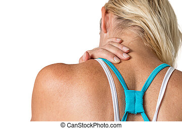 Cervical spin pain concept isolated - Middle age woman is...