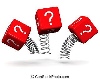 Dynamic and active question concept question mark cube box...