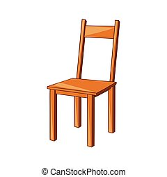 Wooden chair icon, cartoon style