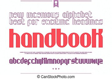 hbook - set of stylish alphabet letters over white paper...