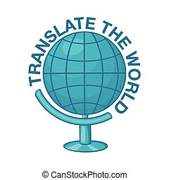 World translation icon, cartoon style