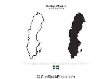 sweden - Kingdom of Sweden isolated map and official flag...