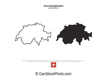swiss - Swiss Confederation map and official flag over white...