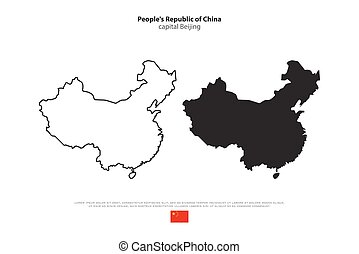 china - People's Republic of China isolated map and official...