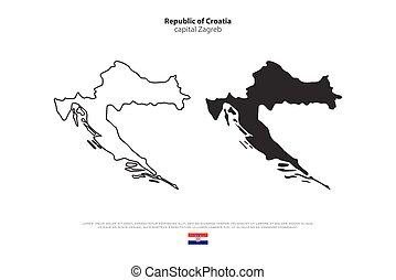 croatia - Republic of Croatia isolated map and official flag...