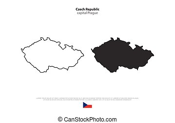 czech - Czech Republic isolated map and official flag icons....