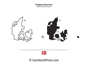 denmark - Kingdom of Denmark isolated map and official flag...
