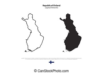 finland - Republic of Finland isolated map and official flag...