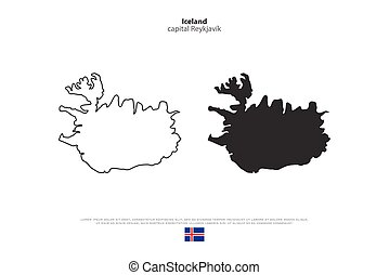iceland - Republic of Iceland isolated map and official flag...