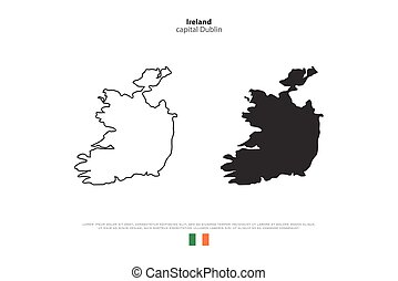 ireland - Republic of Ireland isolated map and official flag...