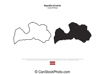 latvia - Republic of Latvia isolated map and official flag...
