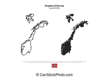 norway - Kingdom of Norway isolated map and official flag...