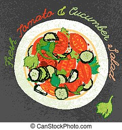 Hand Drawn Salad - Fresh tomato and cucumber salad on a...