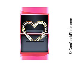 pink gift box with jewelry heart - dark background, pink...