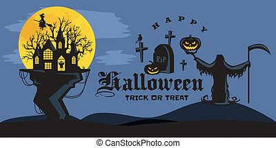 Halloween background. Horror forest with woods, spooky tree,...