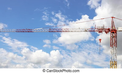 Stationary crane in sky - Daily time lapse and hyperlapse in...