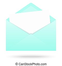 colored envelope with empty paper - green colored opened...