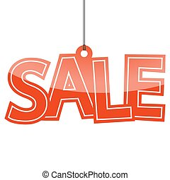 Sale hangtag - hangtag with red letters sale on white...