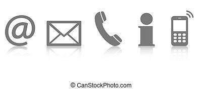 contact us icon set - Contact Us – set of gray colored icons...
