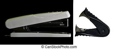 Confrontation stapler vs antisteler on a blak an white