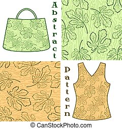 Seamless Pattern, Fig Tree Leaves Contours - Set Seamless...