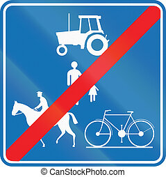 Road sign used in Belgium - End of path for pedestrians, cyclists, equestrians, and agricultural vehicles