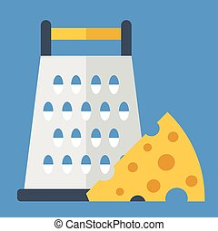 Cheese grater and cheese wedge. Vector illustration
