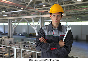Worker in CNC factory