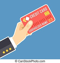Vector hand holding credit card - Hand holding credit card....