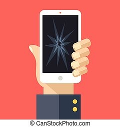 Hand and cracked screen smartphone - Hand holding smartphone...