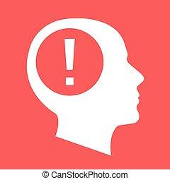 White human head, face silhouette - White human head, face...
