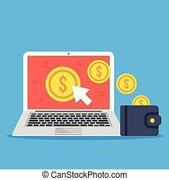Pay per click, make money online concepts Laptop, mouse...