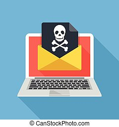 Email fraud, e-mail spam, phishing - Laptop and envelope...