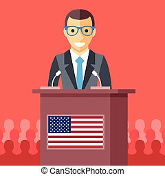 Man giving speech at rostrum with american flag. Male...