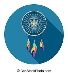 Dreamcatcher icon flat. Singe western icon from the wild west flat.