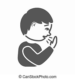 Cough icon cartoon. Single sick icon from the big ill, disease simple.