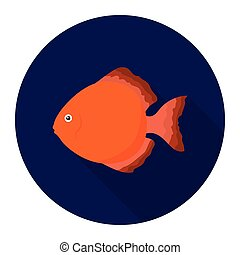 Discus fish icon flat. Singe aquarium fish icon from the sea,ocean life long shadow.