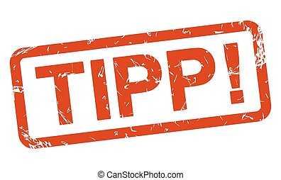 red stamp - tipp ! - stamp with frame colored red and text...