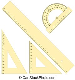 rulers and triangular - collection of four rulers and...