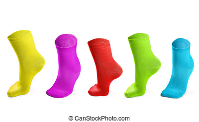 colored socks imitating steps isolated on white background