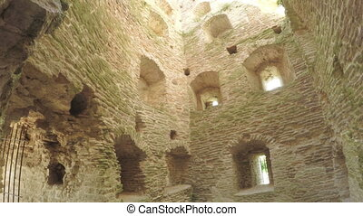 The interior of old tower ancient fortress - Panorama...