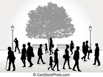 Crowd of people walking.