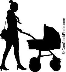 Mother walks with the child in the stroller.
