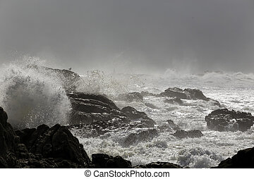 Stormy rocky sea coast - Portuguese northern rocky coast...