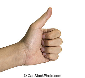 thumbs up man hand for business on white background/isolated.