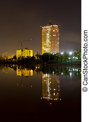 Night scene with new buildings in Donetsk - Night scene with...