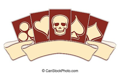Vintage casino banner with poker elements, vector...