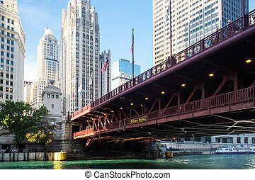 DuSable Bridge in Chicago - The iconic DuSable bridge and...